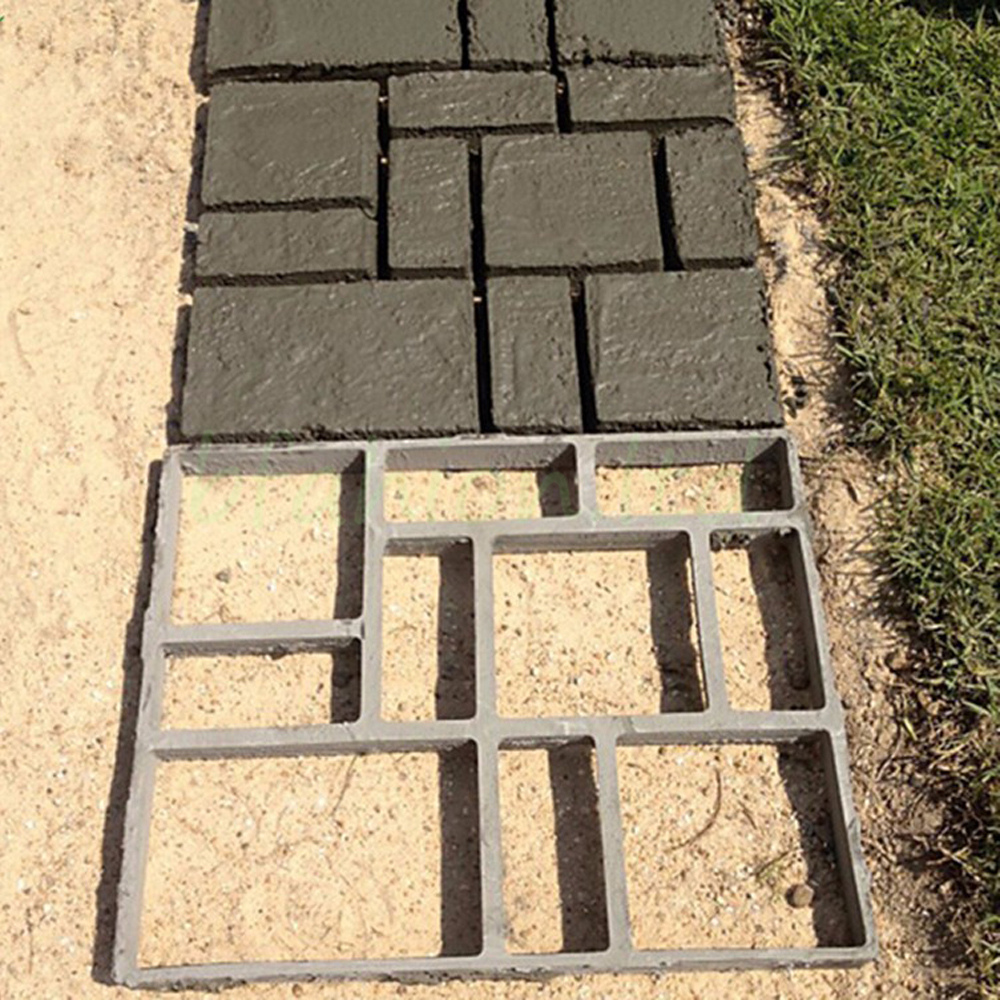 Diy grid driveway paving brick patio concrete slabs path for How to clean concrete slabs