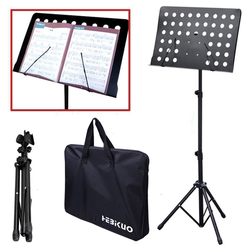 Orchestral Conductor Sheet Music Stand Holder Tripod with 2 Microphone Holders