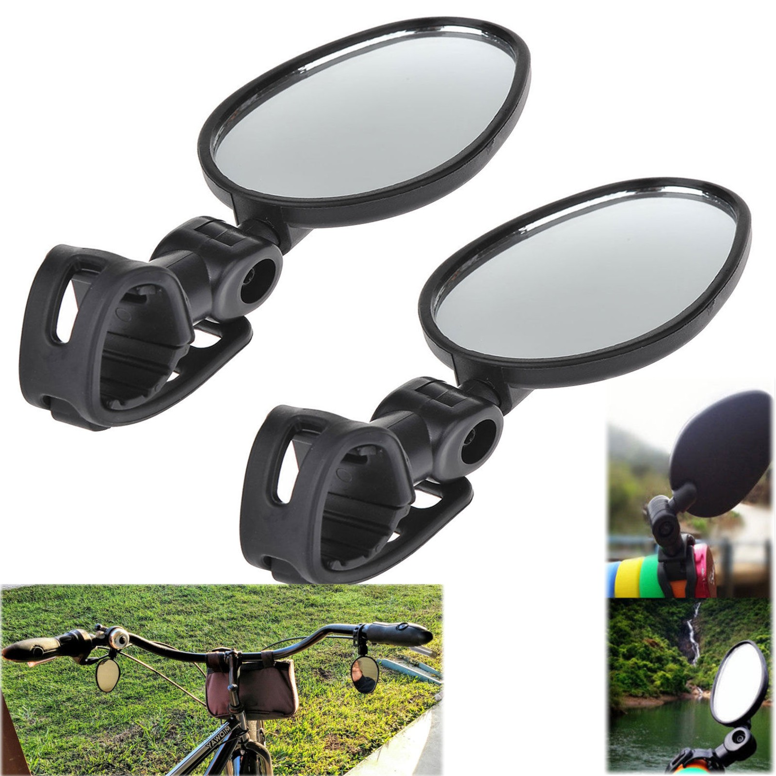 Universal Mini Rotaty Rearview Handlebar Glass Mirror For Bike Bicycle Cycling