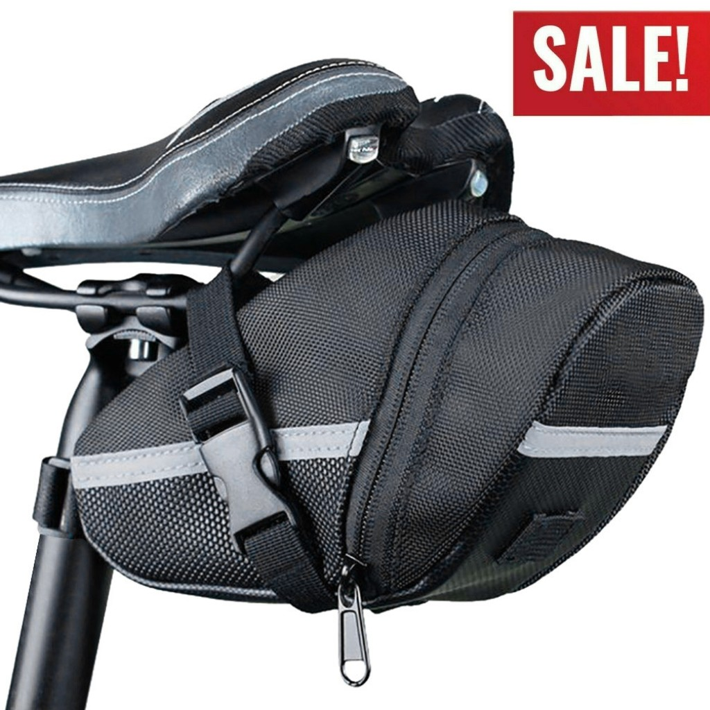 Black Bike Saddle Bag Bicycle Under Seat Storage Tail Pouch Cycling Pack Bags