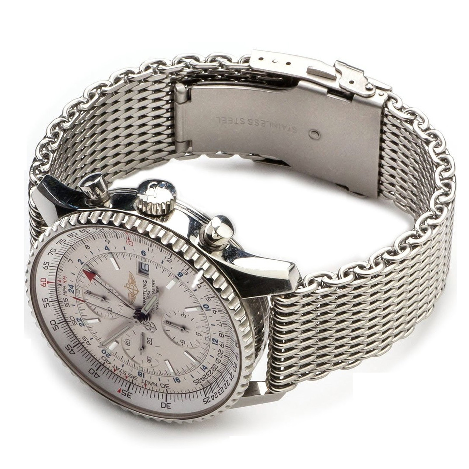 771b17b3252 Stainless Steel Watch Band Strap Push Button Clasp Buckle Bracelet Womens  Mens