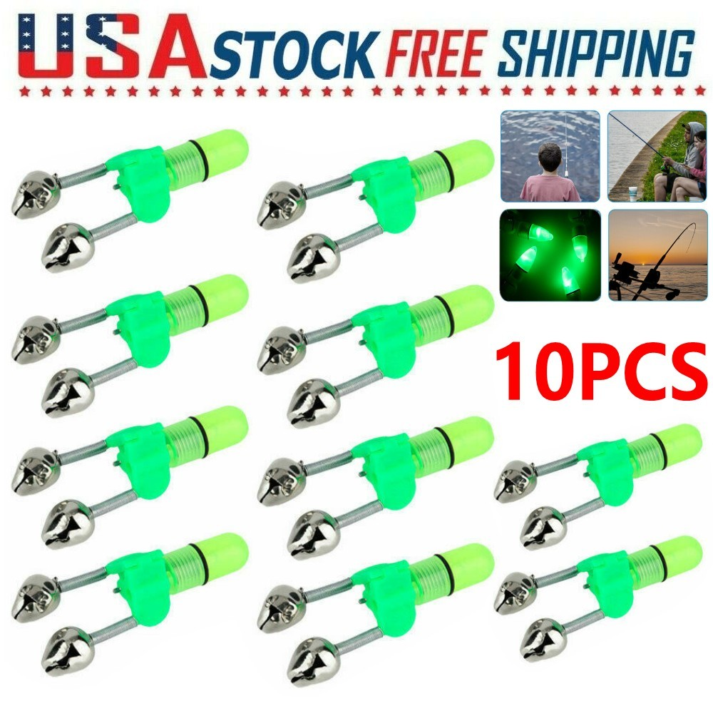 Suitable for All Kinds Sea Rods LED Light Fishing Clip Bite Alarm with Dual Alert Bells Pack of 10 Fishing Rod Bells