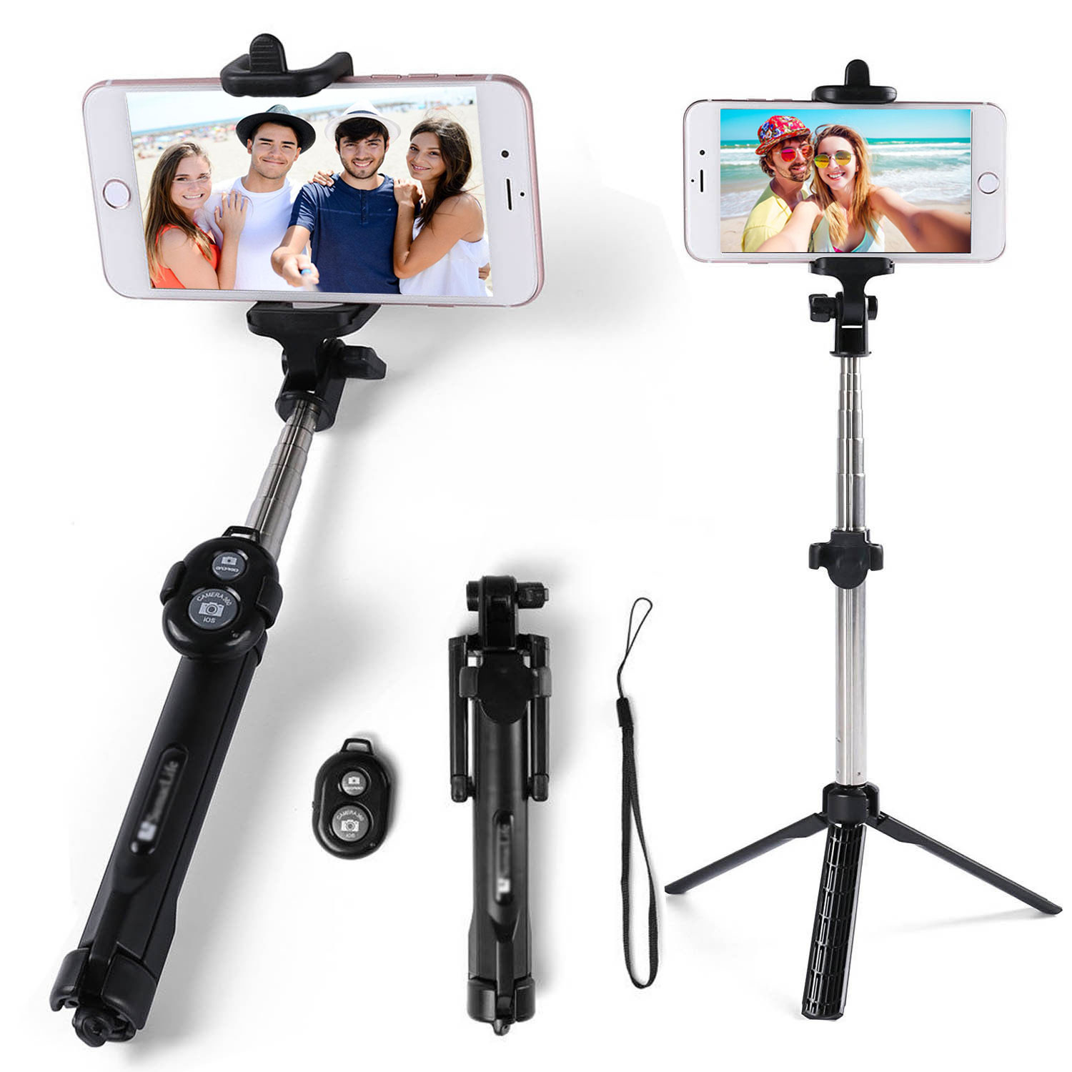 check out 7c782 82f81 Details about Black Extendable Selfie Stick Tripod Remote Wireless Shutter  For iPhone 7 8 X XS