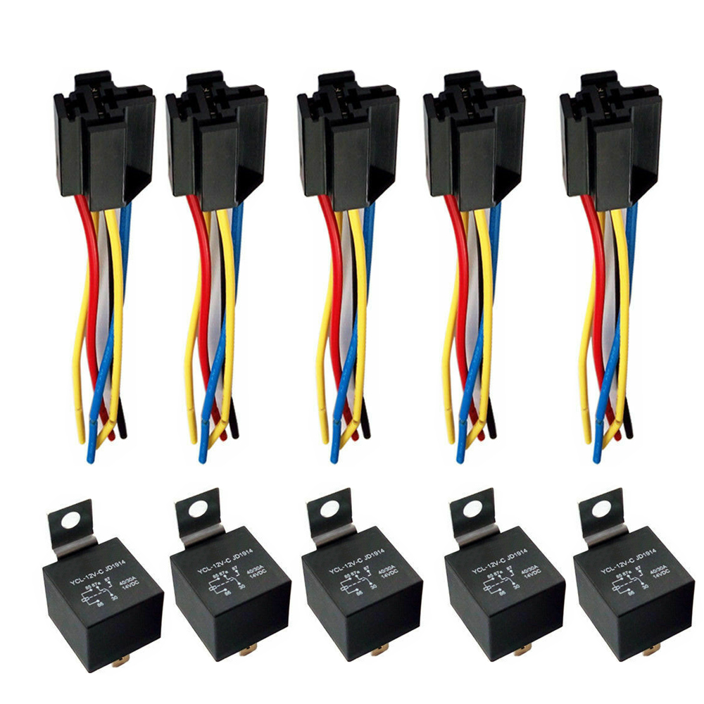 Car Spdt 5 Sets Automotive Relay   Wire Harness Socket