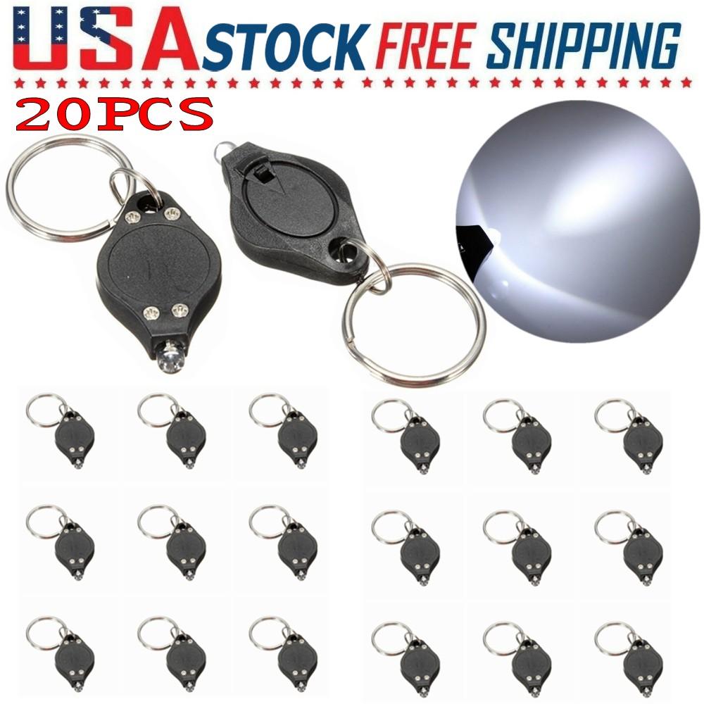 20xSuper Durable Bright Mini White LED Light Lamp Keychain Ring Flashlight Torch