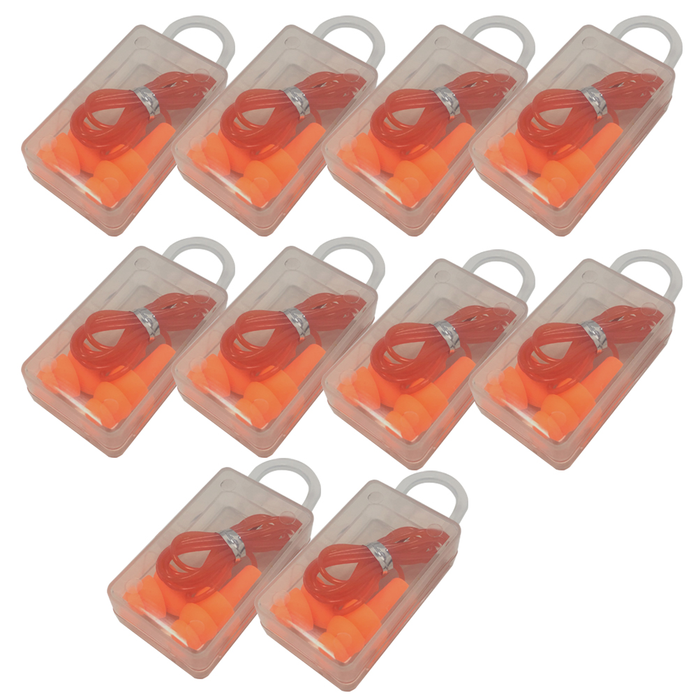 10Pcs Reusable Hearing Noise Protection Earplugs Corded Plugs Soft Silicone Q3A2