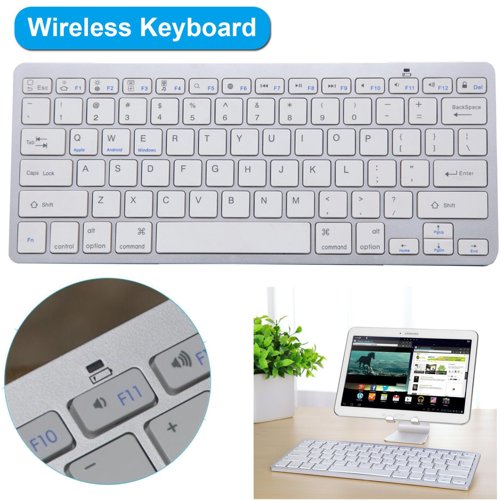 Details about Slim Wireless Keyboard for For iOS Android Windows Mac OS PC  Tablet Smartphone