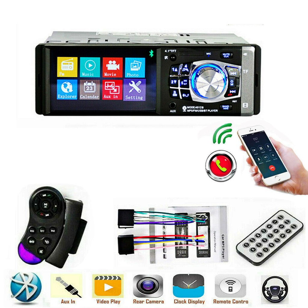 "4.1/"" Bluetooth In-Dash Stereo Audio FM Radio LCD HD Car MP5 MP3 USB AUX Player"