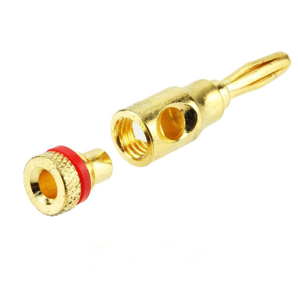 Set of 24/48pcs 24K Gold Banana Plug Plugs Audio Speaker Wire Cable ...