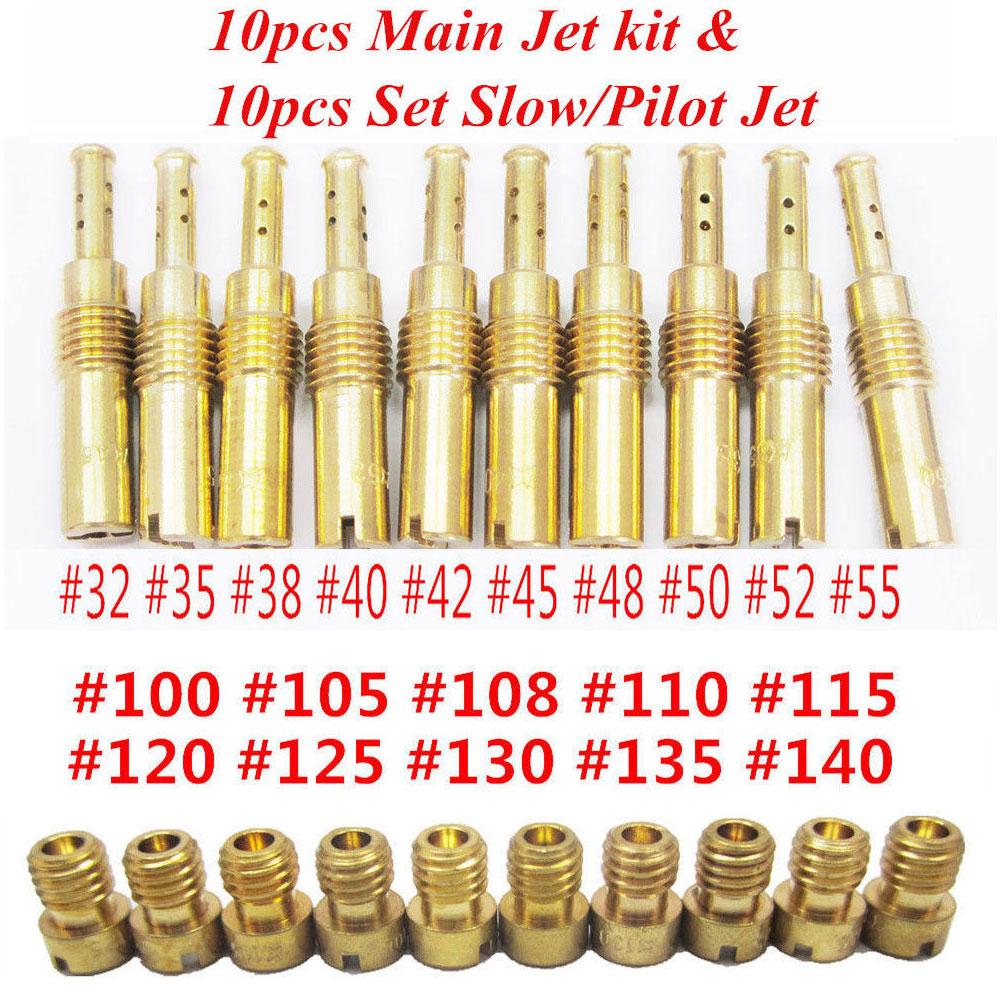 10 PCS Carburetor Main Jet Kit for Replace 125cc 150cc PWK OKO CVK 100 105 108 110 115 120 125 130 135 140