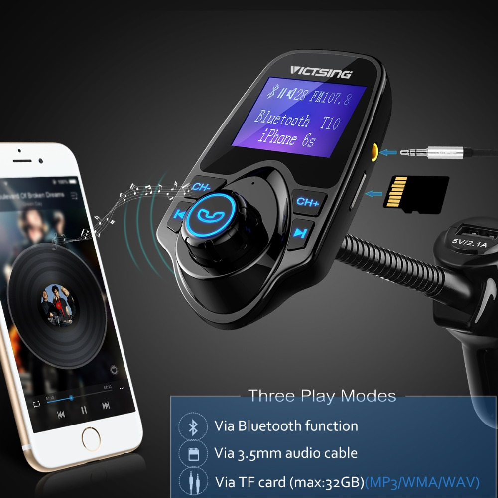 T11 Wireless FM transmitter Modulator MP3 Player for iPhone iPod Samsung S7 S8+