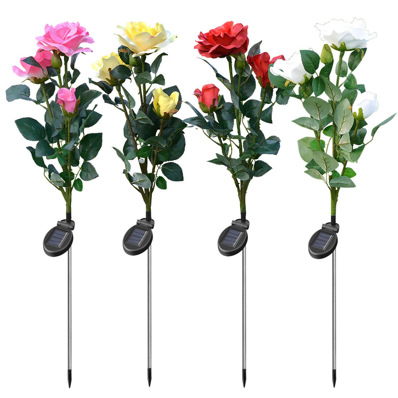 Solar Power Lily Rose Flower Stake Landscape Lamp Yard LED Light Outdoor Garden
