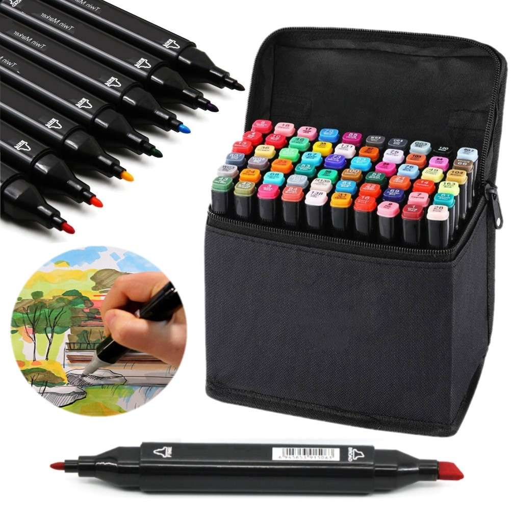 Gift 30-80 Colors Artist Dual Head Sketch Marker Pens for School Drawing Sketch
