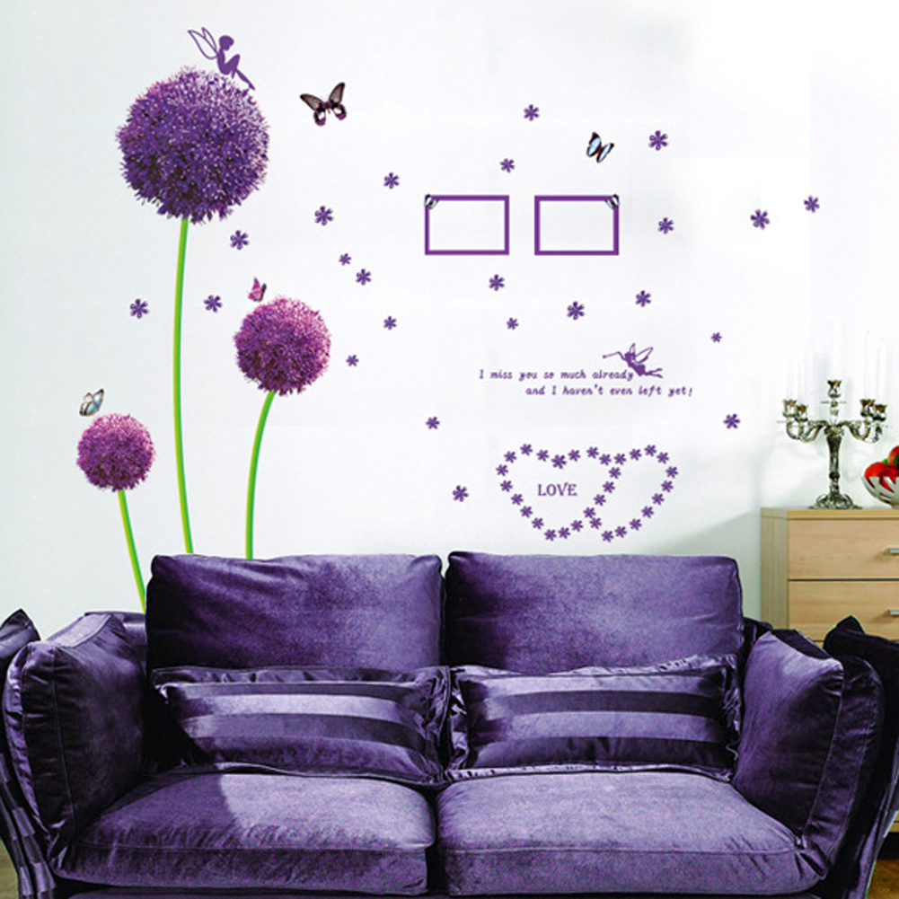 Purple Dandelion Flowers Butterfly Wall Stickers Vinyl Art Decal