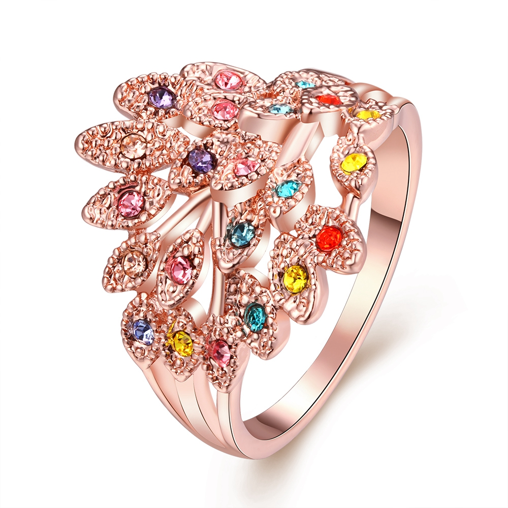 Colorful Diamond Feather Engagement Promise Rings Fashion Wedding ...