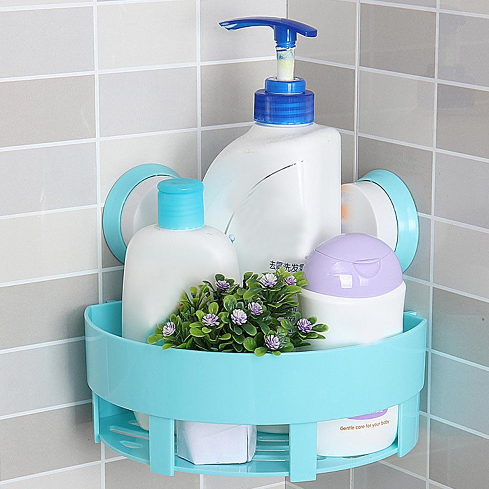 Bathroom Corner Shelf With Suction Shower Rack Cup Storage Wall ...