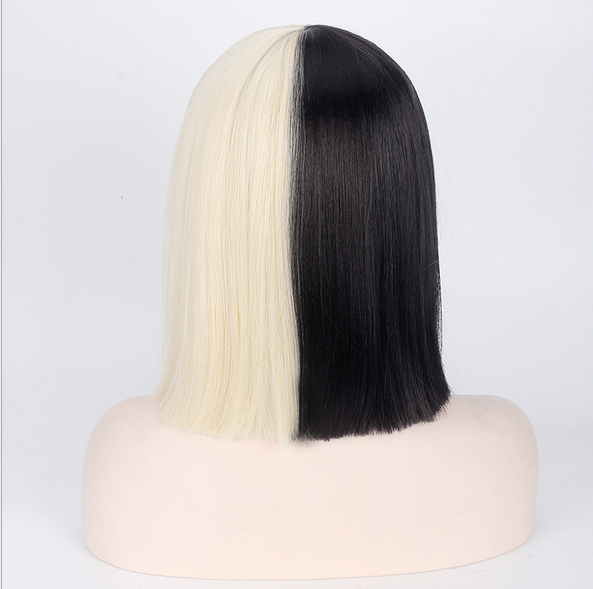 Short Blonde Black Straight W Bow Sia Cosplay Costume Party Ladies Wigs