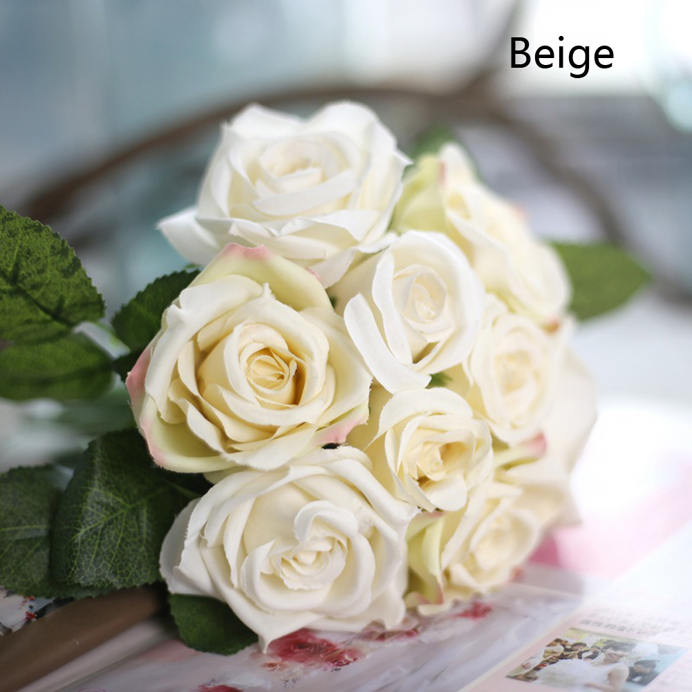 6 Heads Artificial Rose Rosa Azul Silk Flower Bouquet Wedding Home ...