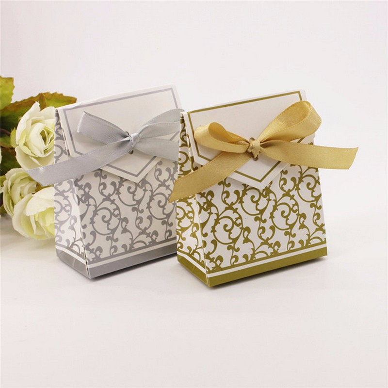 Ribbon Wedding Candy Boxes Wedding Favors Box Bags Chocolate Gift