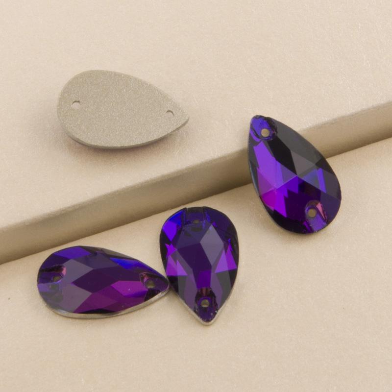 d8439c02bd Teardrop Sew on Rhinestone Purple Velvet Stones Glass Sew on Beads ...