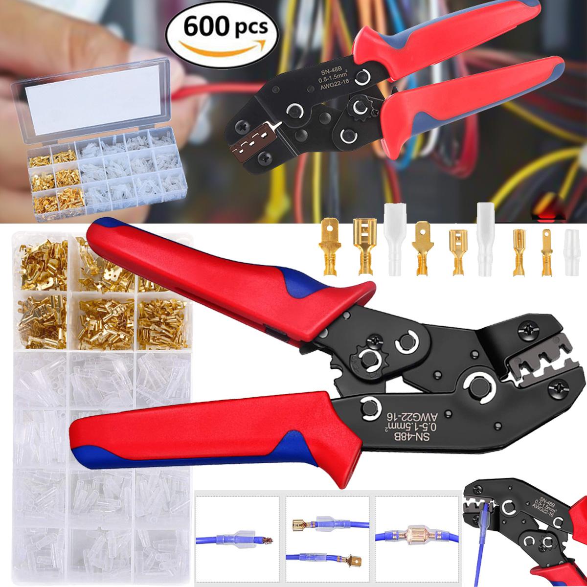 Zange mit Ratschenfunktion isolierte Stecker+Aderendhülsen +600 Presskabelschuhe