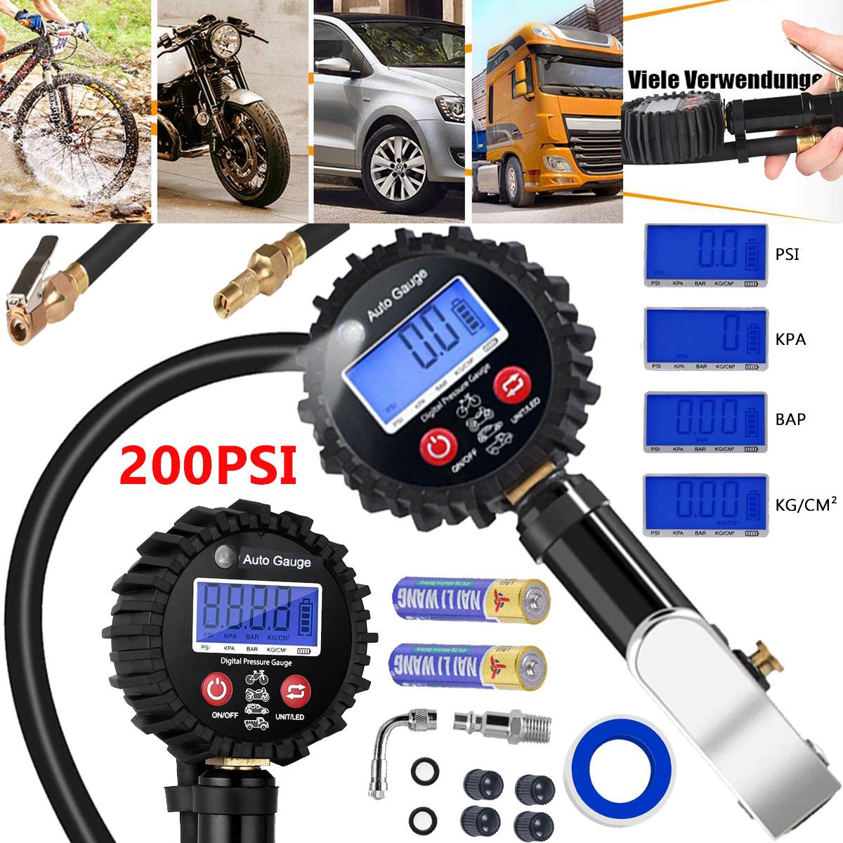 Digital Reifen Druckmesser Tester Manometer Auto Truck Motorrad 0-200PSI Schwarz