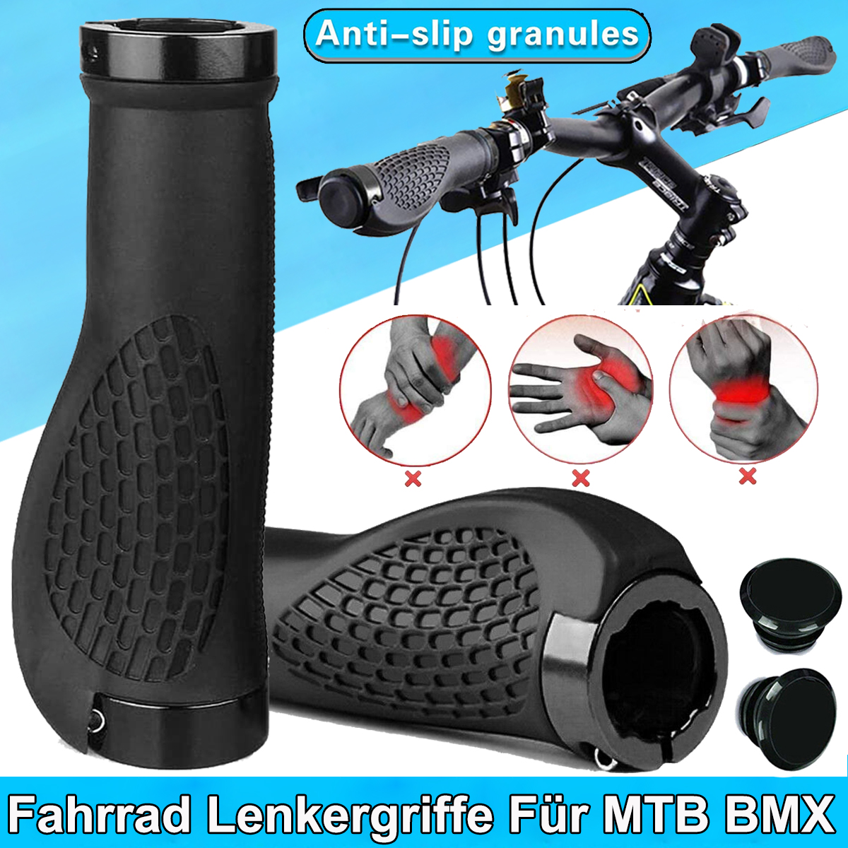 1 Parr Fahrrad Lenkergriffe Schraub-Griff Ergonomisch Ergogriffe Ergo Bar Grips