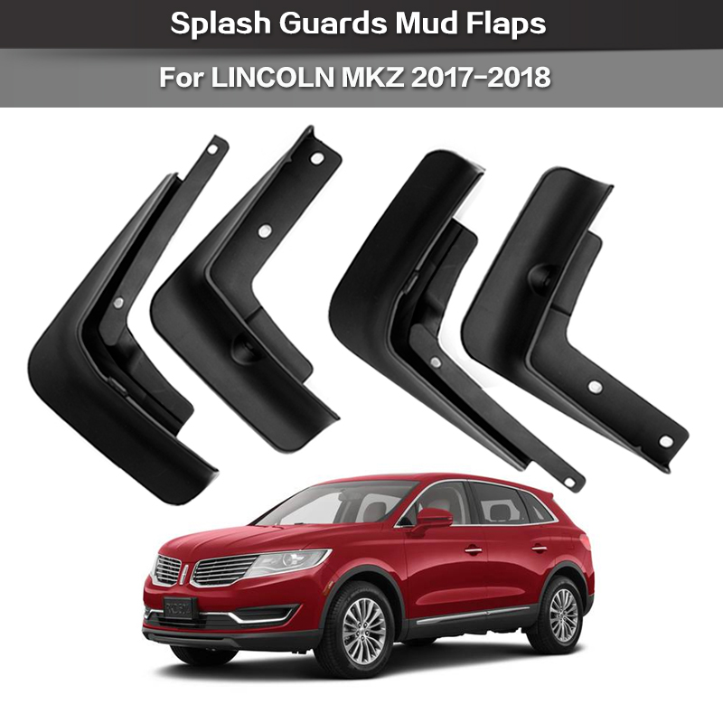 Car Custom Mud Flaps Splash Guards for Lincoln MKZ 2017-2019 Fender Flares Mudflaps Mudguards Front and Rear Wheel 4Pcs