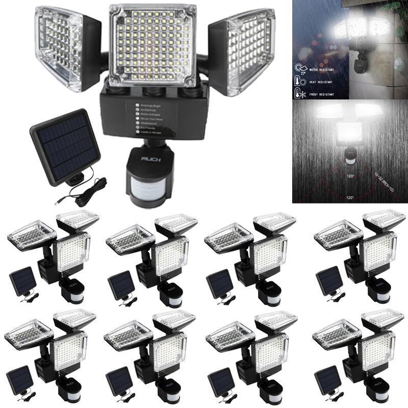 188 LED Solar Powered Flood Light 3-Head Motion Sensor Outdoor Lamp Auto On//Off