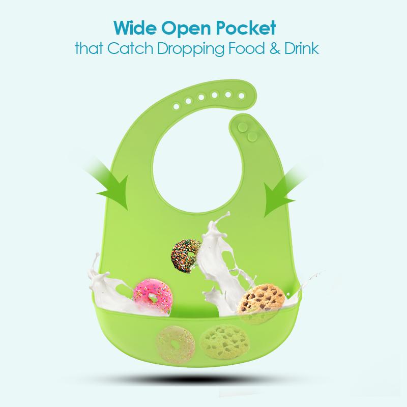 Waterproof Baby Silicone Feeding Bibs Kids Roll Up Food Catcher Pocket Bib UK
