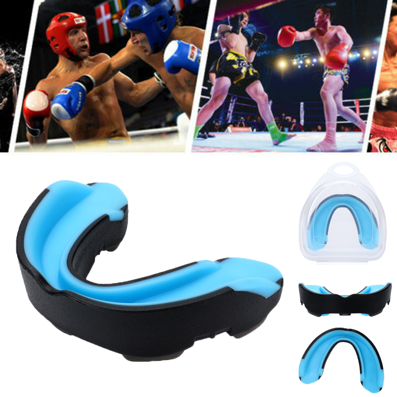 FDA Gel Gum Mouth Guard Teeth Grinding Boxing Sports Gym MouthPiece Shield Case