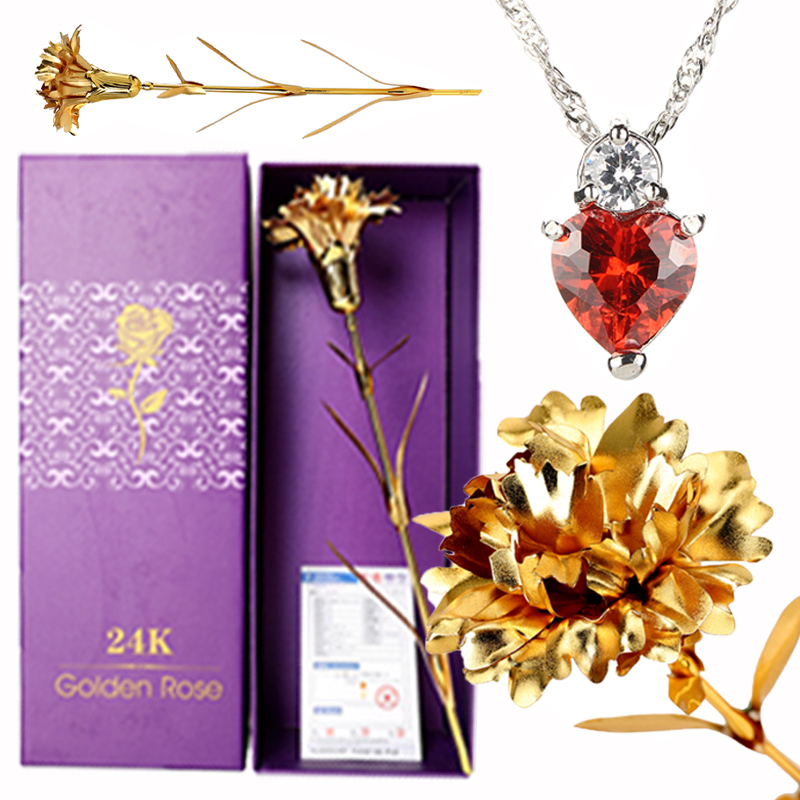 24K Gold Carnation Crystal Necklace Best Mother's Day Birthday Romantic Gift