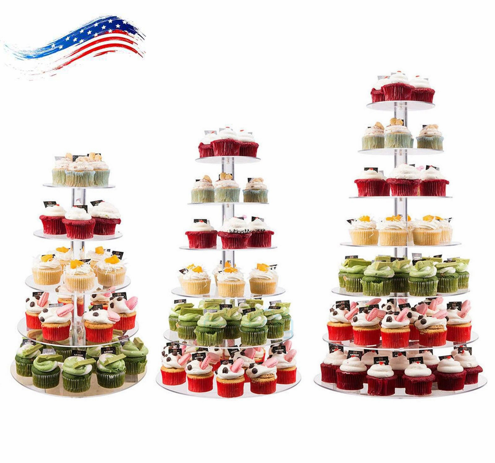 7-Tier Clear Acrylic Round Cupcake Stand Wedding Birthday Cake ...
