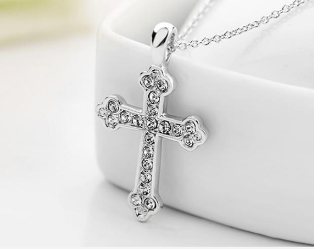 Unisex-Cross-Chain-18K-Rose-Gold-GP-Charm-Crystal-Valentine-Necklace-Pendant thumbnail 25