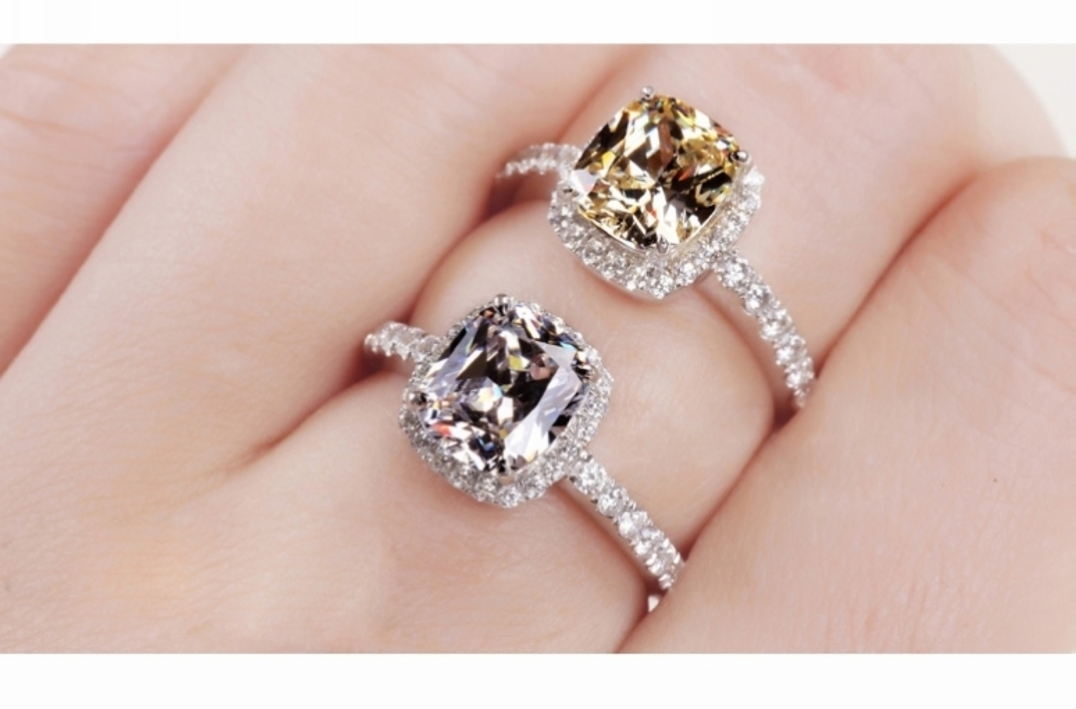 CZ Ring 18K White GP Austria Crystal Silver Ring Lady Wedding Bride ...