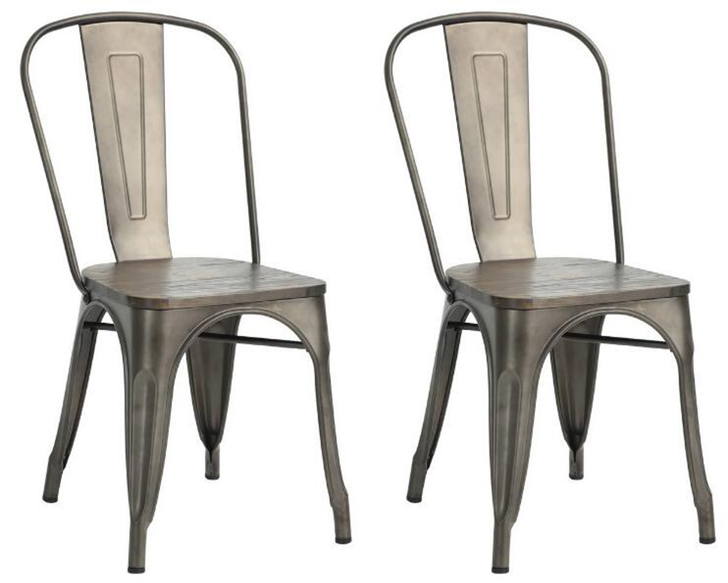 2 Tolix Rustic Metal Wooden Retro 1930s Style Cafe Bistro Kitchen Dining Chairs