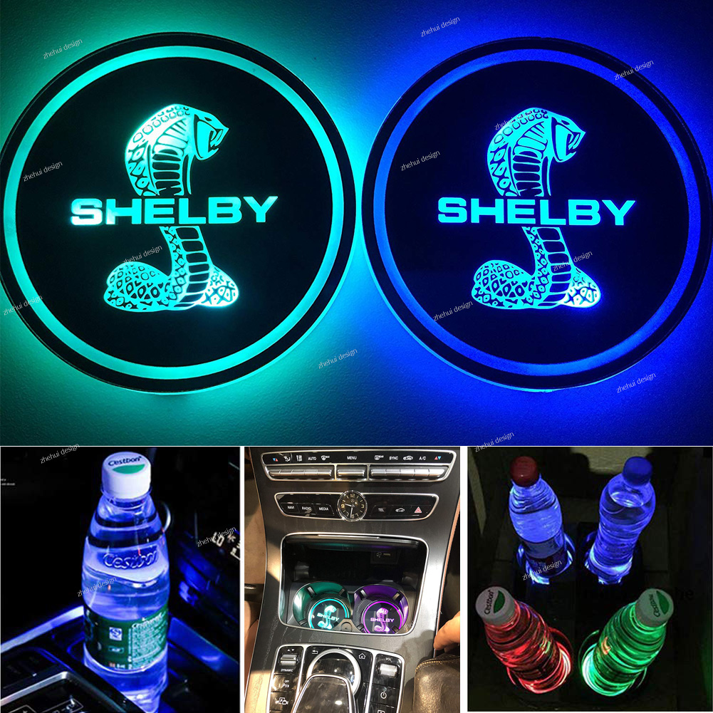 OSIRCAT LED Car Cup Holder Lights fit Mercedes Benz,Car Logo Coaster with 7 Colors Changing USB Charging Mat,Luminescent Cup Pad Interior Atmosphere Lamp Decoration Light 2PCS