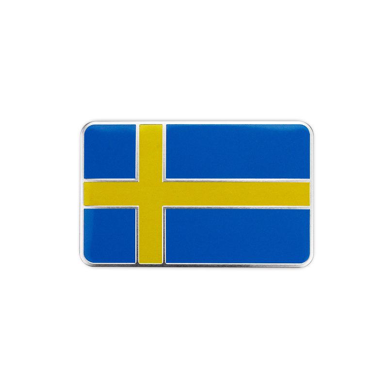 2 SWEDEN SE Sverige Flag Metal Chrome Emblem Badge Trunk Rear Sticker Volvo SAAB