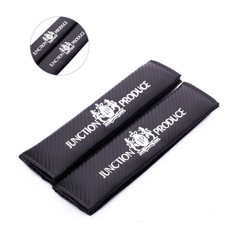 2pcs Carbon Fiber JP Junction Produce Logo Car Auto Seat Belt Cover Shoulder Pad