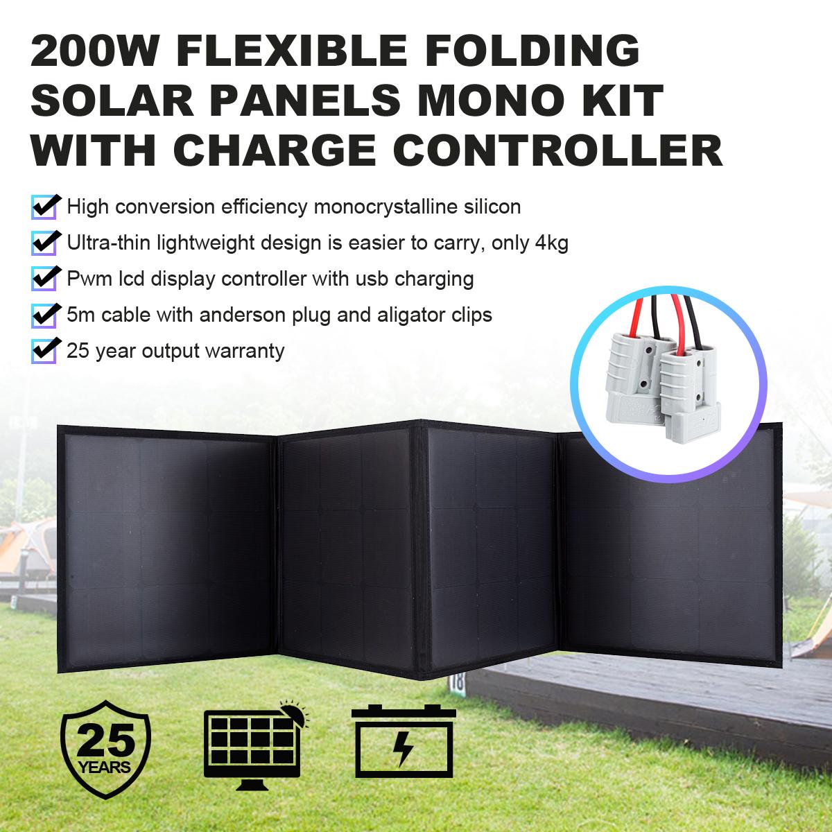 200w 12v Folding Solar Panel Kit Blanket Black Silicon