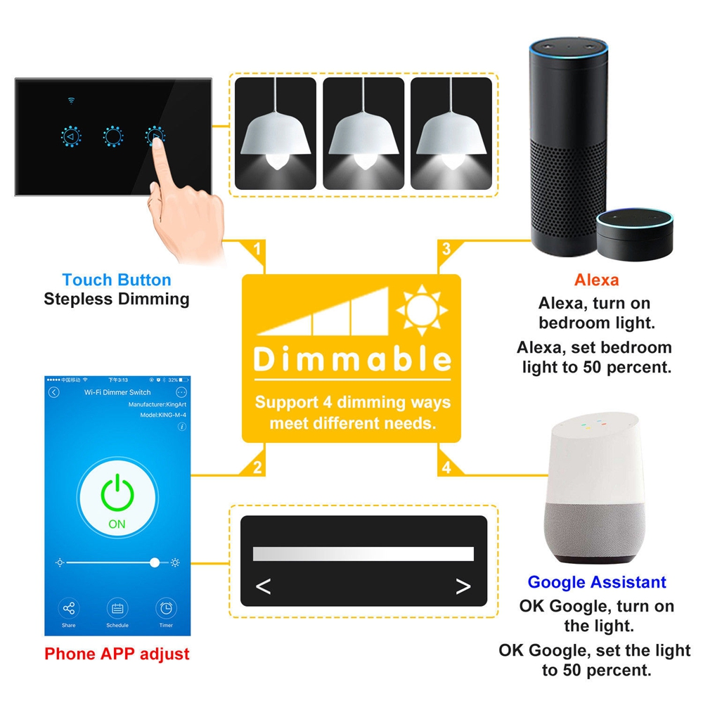 Details about WiFi Dimmer Smart Switch Touch APP Control LED Wall Light for  Alexa Google IFTTT