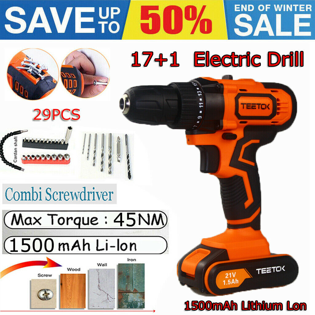 Heavy Duty 21v Lithium Li Ion Cordless Battery Drill Driver Screwdriver 2 Speed Ebay