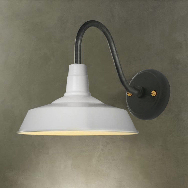 White Industrial Gooseneck Wall Sconce Lamp Vintage Wall