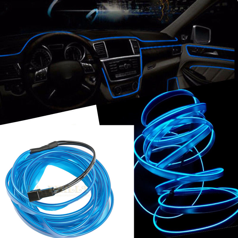 3M Blue EL-Wire 12V Car Interior Decor Fluorescent Neon Strip Cold ...
