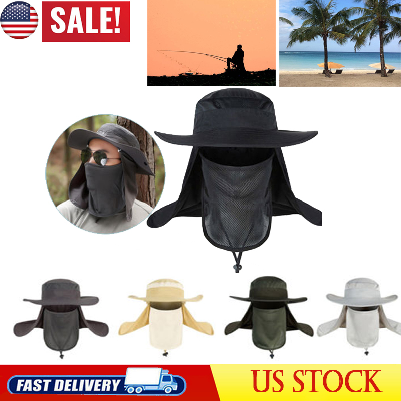 Men//Women Outdoor Sport Fishing Hiking Hat UV Protection Face Neck Flap Sun Cap