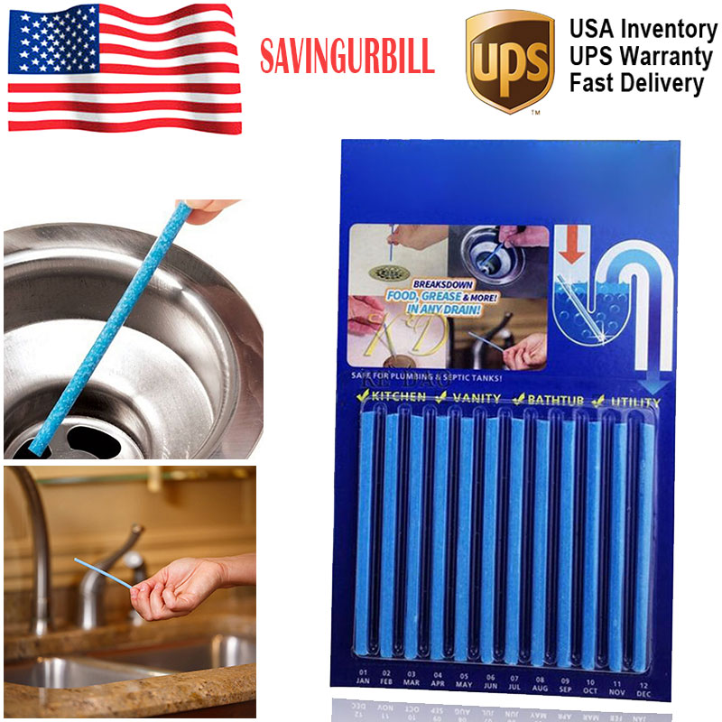 Details about Sani Sticks Drain Cleaner Odor Remover Kitchen Sink Bath 12-Pack, Blue Color US