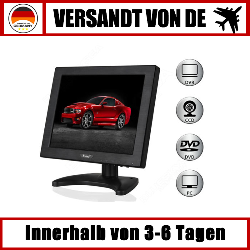 10 zoll lcd hdmi bnc mini cctv farbmonitor bildschirm f r. Black Bedroom Furniture Sets. Home Design Ideas