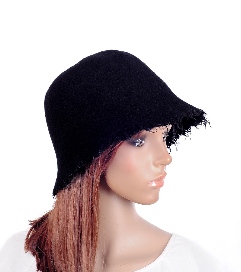 d489ab98e16b9 Details about M500 Black Women Cute Tassel Brim Wool Acrylic Winter Hat  Bucket Cloche Cap