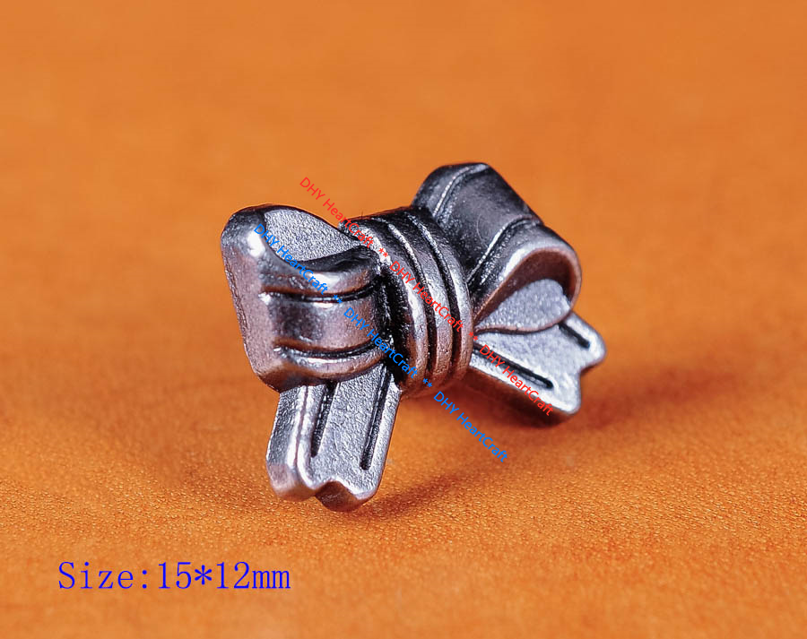 50pc 15*12MM Lovely Cute Bow Knot  Rapid Rivet Leathercraft Studs Decor Conchos