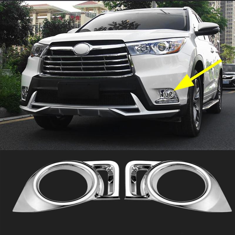 Fit For Toyota 2018 Highlander Chrome Front Fog Light Lamp Cover Trims